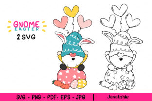 Print on Demand: Cute Bunny Easter Gnome Clipart SVG Graphic Illustrations By Janatshie
