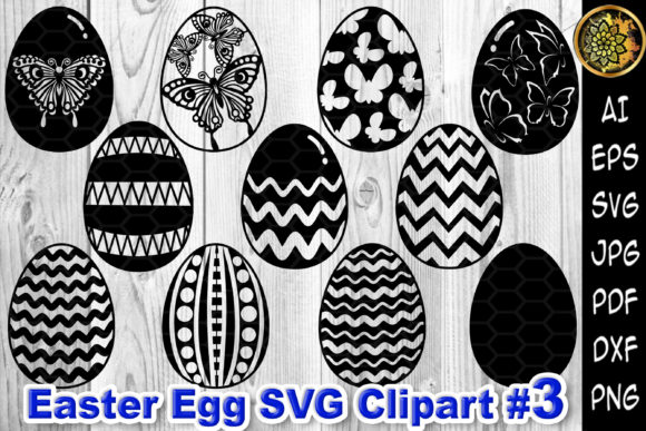 Print on Demand: Easter Egg SVG Silhouette Clipart V.3 Graphic Illustrations By V-Design Creator