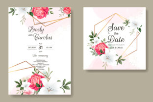 Hand Drawing Wedding Card Floral Design Graphic Print Templates By dinomikael01