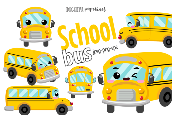 Print on Demand: Kawaii School Bus Graphic Illustrations By DigitalPapers