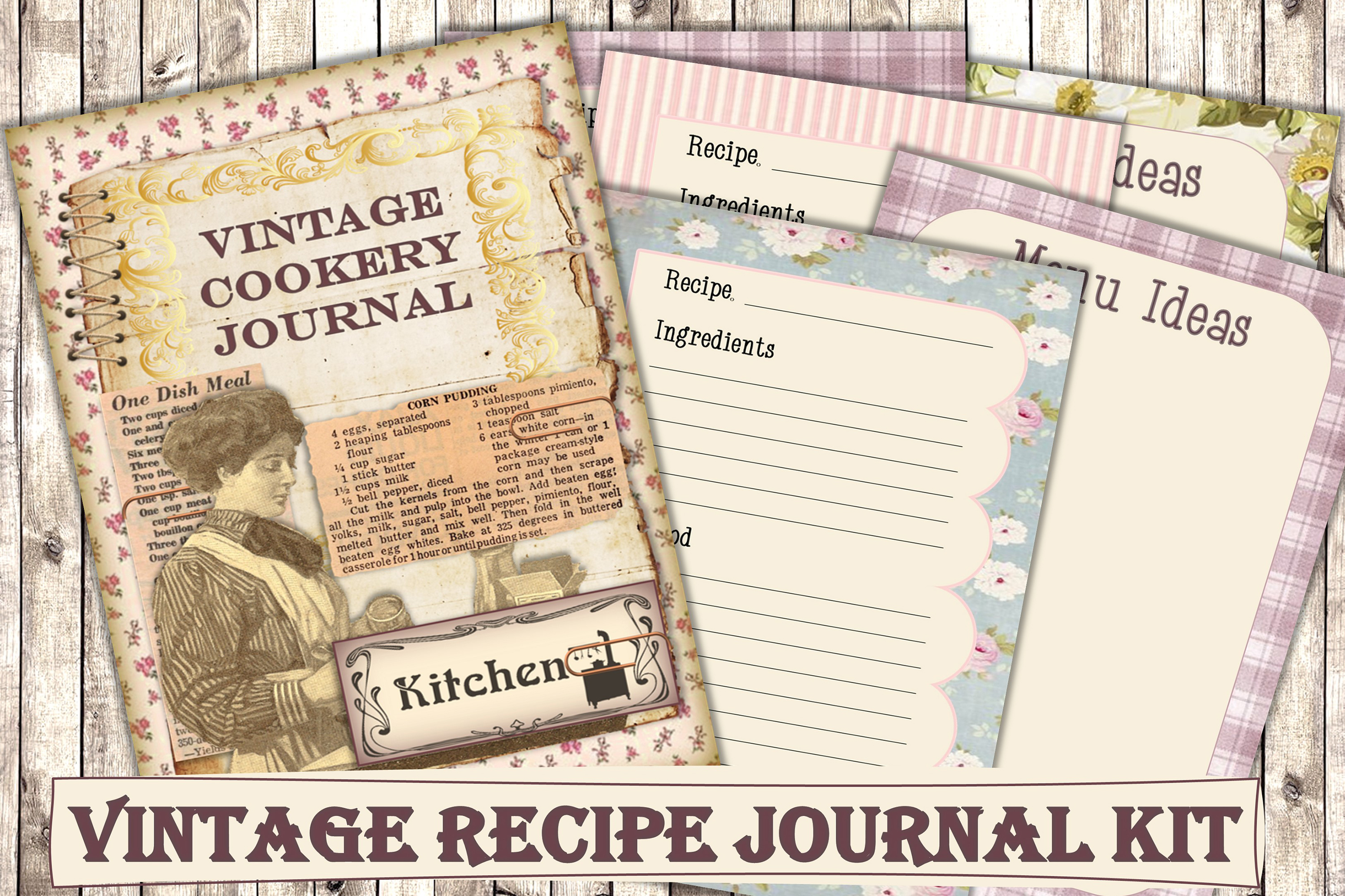 Printable Cookery Recipes Journal Kit SVG File