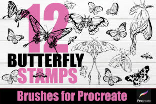 Print on Demand: Procreate-Tattoo 12 Butterfly Stamps Graphic Brushes By KtwoP