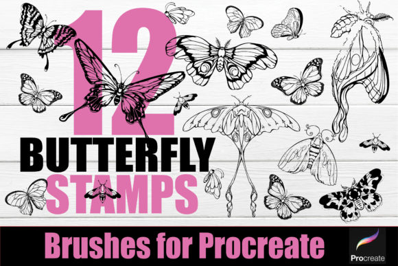 Print on Demand: Procreate-Tattoo 12 Butterfly Stamps Gráfico Pinceles Por KtwoP