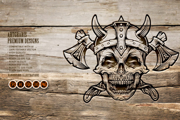 Download Skull Vintage Military with Axe SVG SVG Cut Files