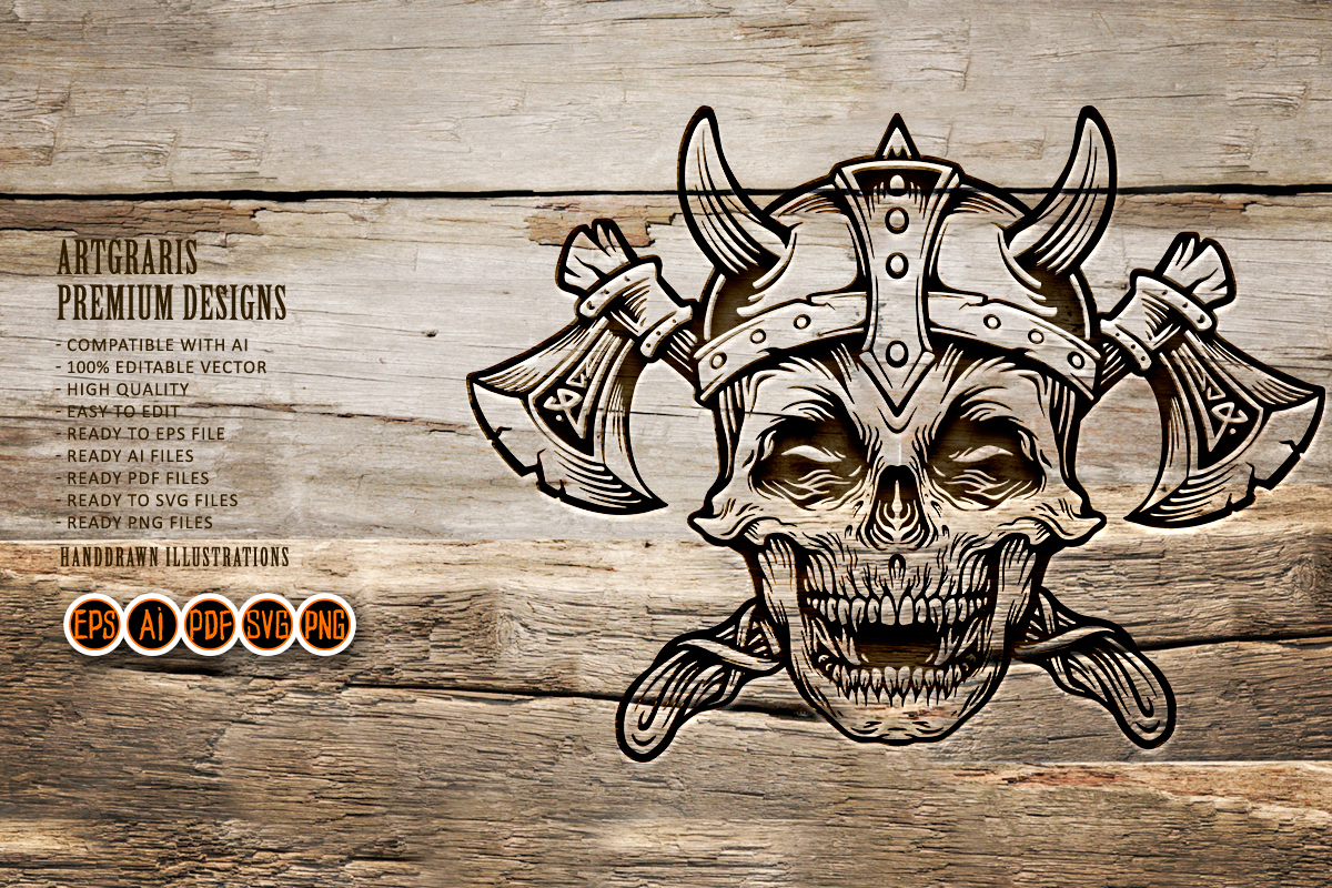 Skull Vintage Military with Axe SVG File