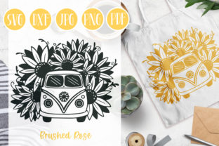 Sunflower SVG | Sunflower Bus | Flowers Graphic Illustrations By Brushed Rose