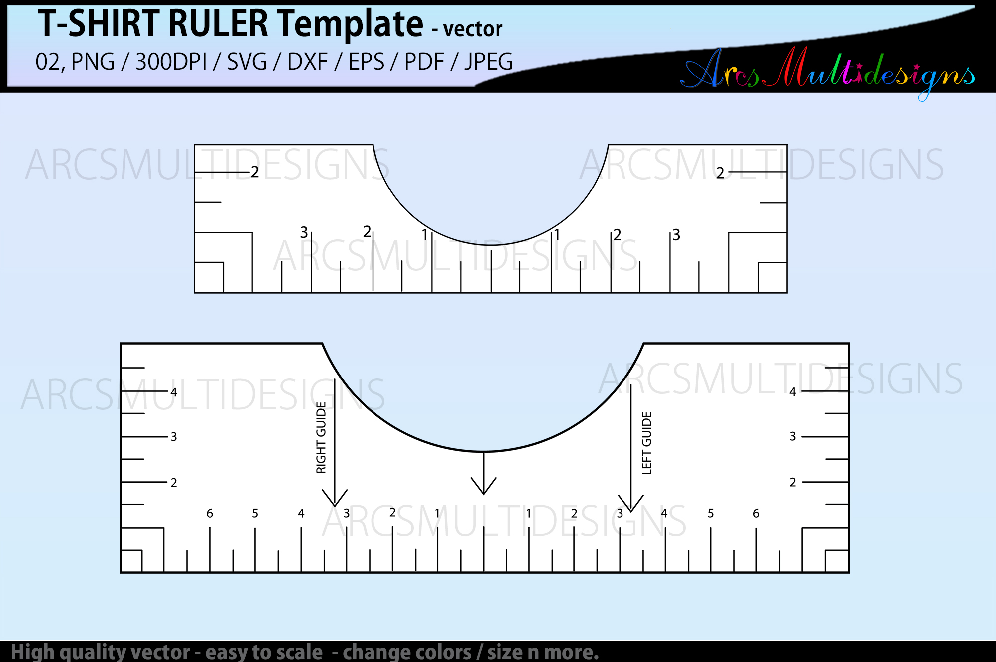 T-Shirt Alignment Ruler Template SVG File