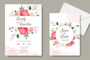 Wedding Invitation with Floral Design Graphic Print Templates By dinomikael01