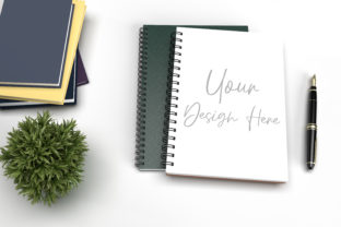 Notebook with Book and Pen on Table Graphic Product Mockups By Avadesing