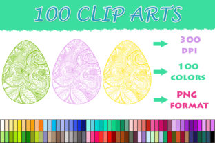 100 Mandala Easter Eggs Clipart Graphic Illustrations By SweetDesign