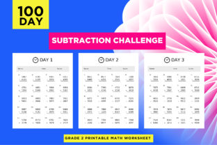 Print on Demand: 100 Day Subtraction Challenge Worksheets Graphic 2nd grade By Riduwan Molla