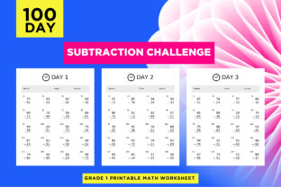 Print on Demand: 100 Printable Subtraction Activity Pages Graphic 1st grade By Riduwan Molla