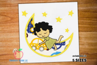 A Little Girl Sleeping on Moon Applique Boys & Girls Embroidery Design By embroiderydesigns101