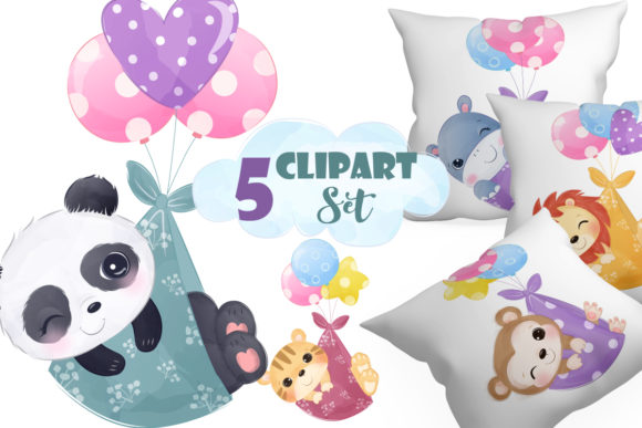 Print on Demand: Adorable Baby Animals Clipart Set Graphic Illustrations By DrawStudio1988