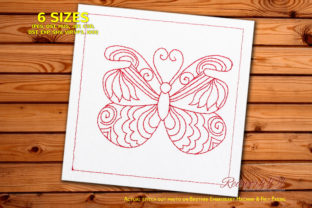 Beautiful Butterfly with Swirl Pattern Bugs & Insects Embroidery Design By Redwork101