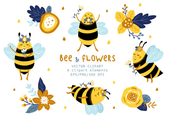 Print on Demand: Bees & Flowers, Flowers Clipart Graphic Illustrations By FindsArtDesign