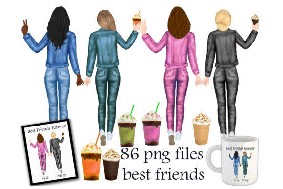 Print on Demand: Best Friends Clipart Graphic Illustrations By Stickerica Shop