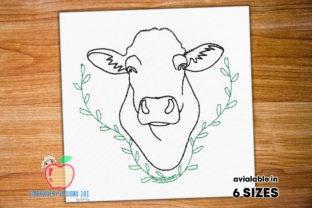 Black Angus Head Sketch Farm Animals Embroidery Design By embroiderydesigns101
