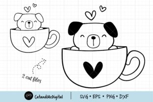 Coffee and Dog Svg Cut File. Graphic Illustrations By CatAndMe