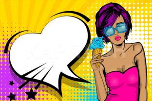 Cool Woman Wow Face Ice Cream Pop Art Graphic Illustrations By Kapitosh