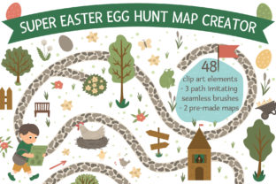 Easter Egg Hunt Map Creator Graphic Illustrations By lexiclaus
