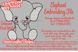 Print on Demand: Elephant Baby Animals Embroidery Design By JessasGraphicDesgins