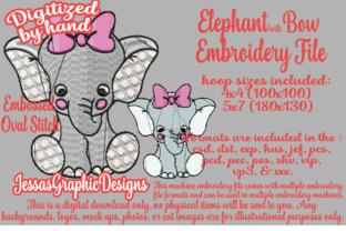 Print on Demand: Elephant with Bow Baby Animals Embroidery Design By JessasGraphicDesgins