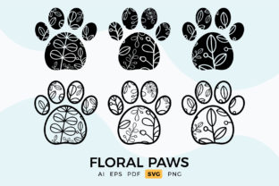Print on Demand: Floral Pet Paws Clipart Set Graphic Crafts By DTCreativeLab