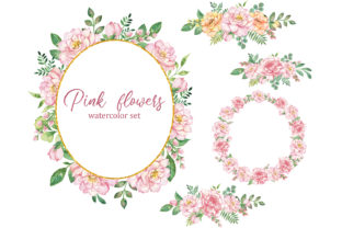 Floral Watercolor Frames and Wreaths Graphic Add-ons By EvArtPrint