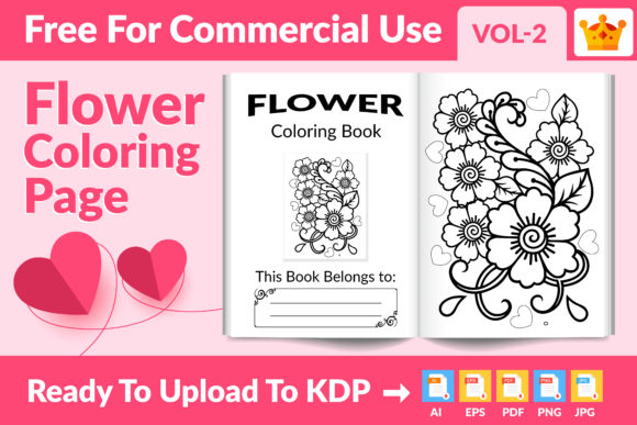 Flower Coloring Page KDP Interior Vol.2 Graphic KDP Interiors By Md Abu Saeid