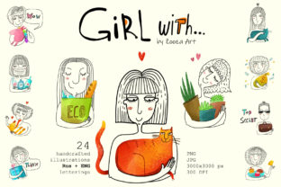 Print on Demand: Girl with... - 24 Illustrations RusEng Graphic Illustrations By Zooza Art