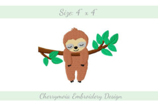 Hanging Sloth Wild Animals Embroidery Design By CherrymoiaEmbroidery