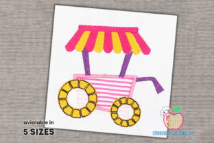 Ice Cream Cart with Shade Applique Dessert & Sweets Embroidery Design By embroiderydesigns101