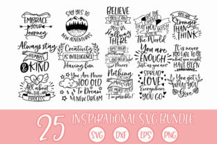 Print on Demand: Inspirational Quotes SVG Bundle Cut File Graphic Crafts By freelingdesignhouse