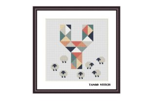 Print on Demand: Letter Y and Sheeps Nursery Cross Stitch Graphic Cross Stitch Patterns By Tango Stitch