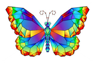 Rainbow Polygonal Butterfly Graphic Illustrations By Blackmoon9