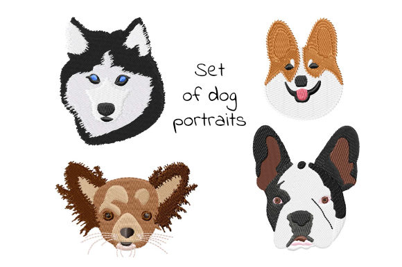 Print on Demand: Set of Dog Portraits Dogs Embroidery Design By EmbArt