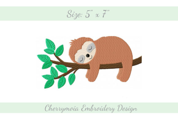 Sleeping Sloth Wilde Tiere Stickdesign von CherrymoiaEmbroidery