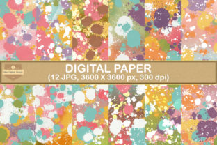 Print on Demand: Sweet Paint Splatters Digital Paper Graphic Backgrounds By SineDigitalDesign