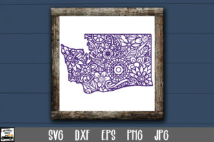 Print on Demand: Washington SVG File - Washington Mandala Gráfico Crafts Por oldmarketdesigns