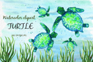 Watercolor Clipart Turtle Sea Animals Grafik Illustrationen von SavirinaArt