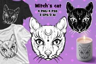 Print on Demand: Witch's Cat PSD/EPS/PNG/AI Graphic Illustrations By ladymishka