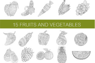 15 Fruits &Vegetables Coloring Pages Graphic Coloring Pages & Books Adults By somjaicindy