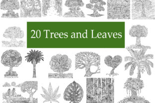 20 Abstract Trees, Leaves Coloring Books Graphic Coloring Pages & Books Adults By somjaicindy