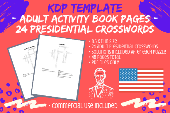 Print on Demand: 24 Adult US President Facts Crosswords Graphic KDP Interiors By Tomboy Designs