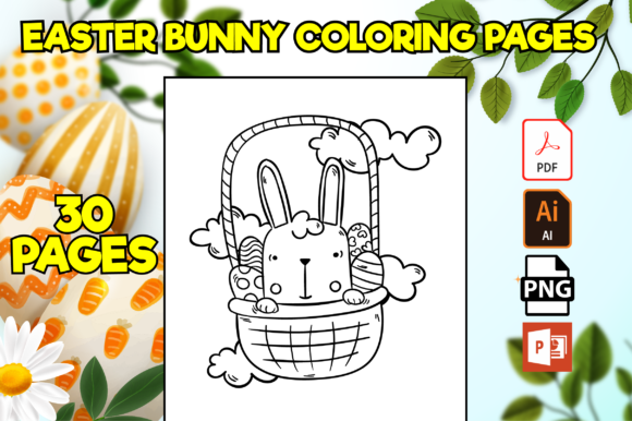 Print on Demand: 30 Easter Bunny Coloring Pages for Kids Graphic Coloring Pages & Books Kids By Cute Coloring