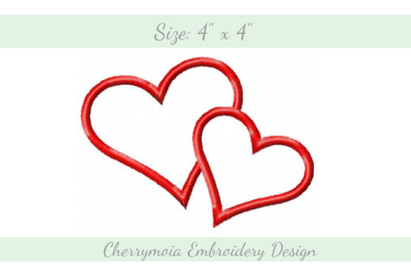 Appliqué Romantic Hearts Valentine's Day Embroidery Design By CherrymoiaEmbroidery