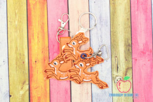 Cartoon Deer Running ITH Keyfob Wild Animals Embroidery Design By embroiderydesigns101