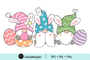 Cute Easter Gnome Clipart. Graphic Illustrations By CatAndMe