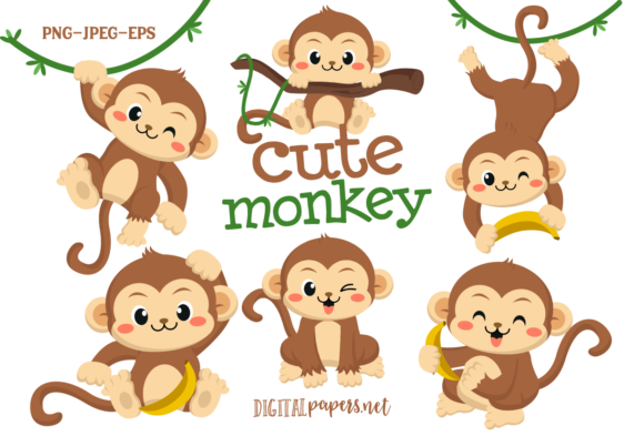 Cute Monkey Clipart Set Graphic